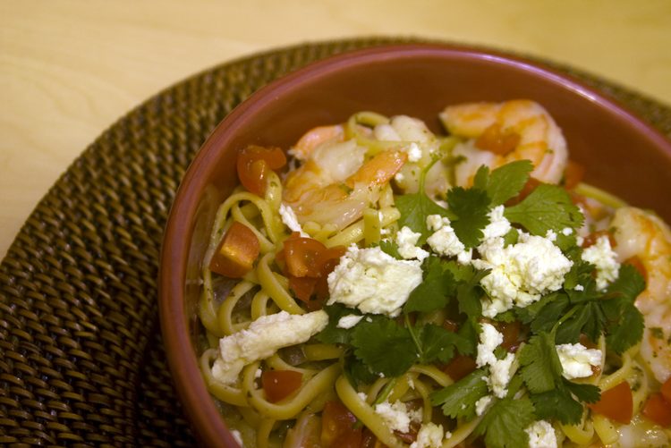 Linguini with Shrimp in a Feta, Cliantro, and Lime Sauce