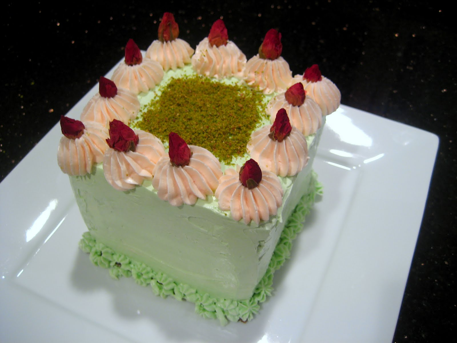 Goodnight Rose: Pistachio-Cardamom Cake with Rosewater Frosting