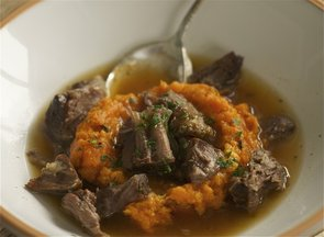 Cardamom Broth with Oxtails &amp; Vanilla Honey Sweet Potatoes