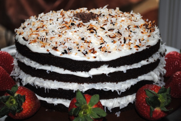 Chocolate Cake with Vanilla Coconut Frosting