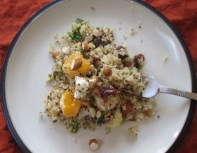 Orange Quinoa Salad with Almonds, Olives, and Feta
