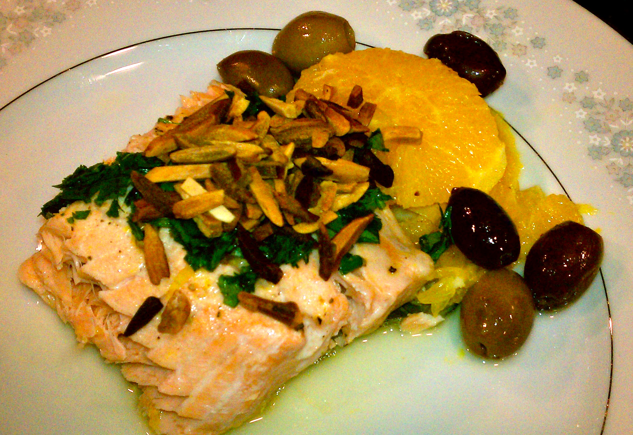 Pan Roasted Salmon with Olives, Oranges and Almonds
