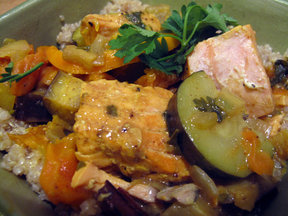 Orange, Olive and Salmon Tagine
