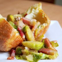 Popovers with Bacon and Brussels Sprouts