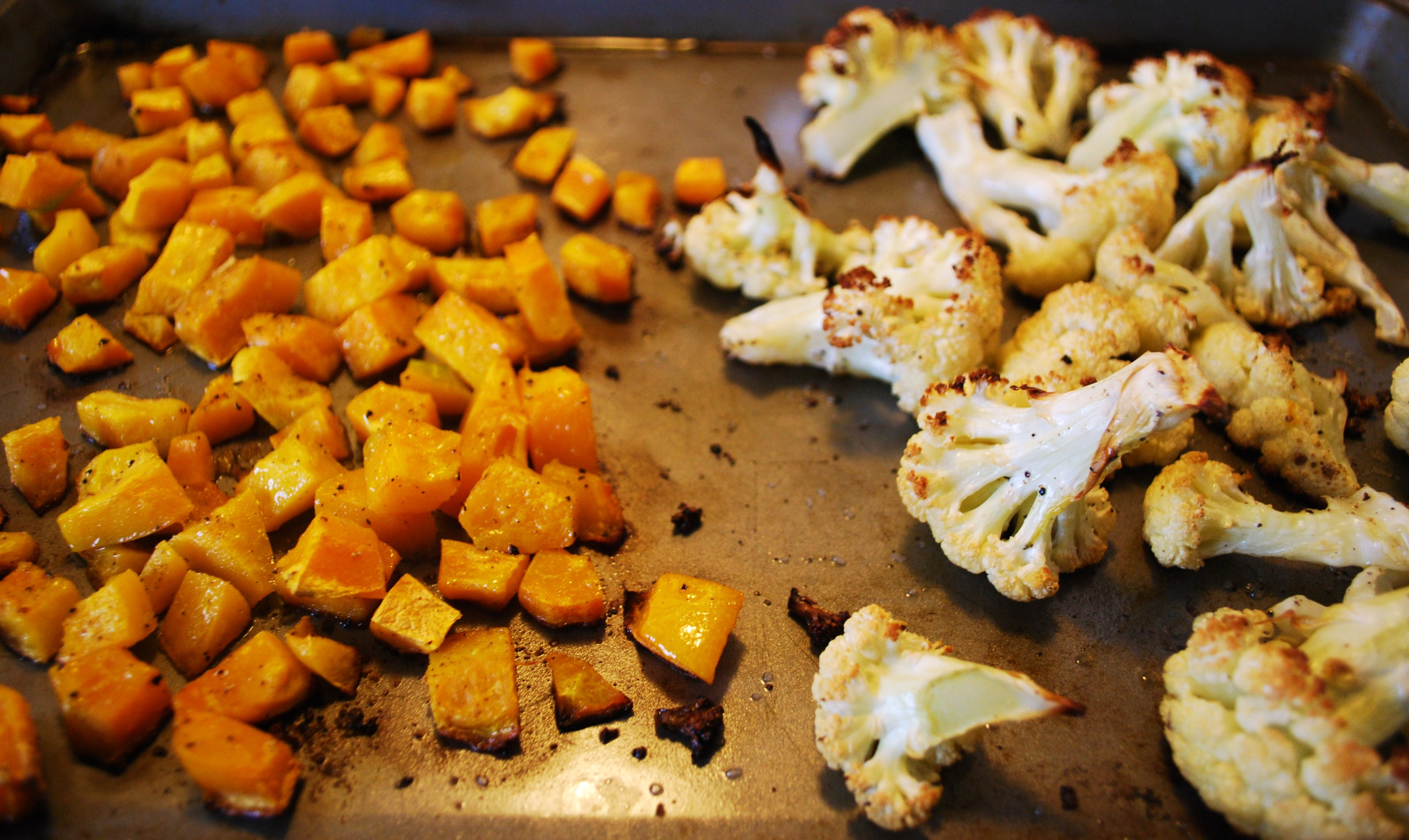 Roasted Cauliflower, Buttercup Squash, & Kale Spaghetti with Pancetta