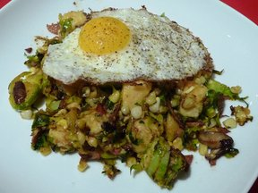 Brussels Sprout and Corn Hash (with &quot;Hard&quot; Polenta Cubes)