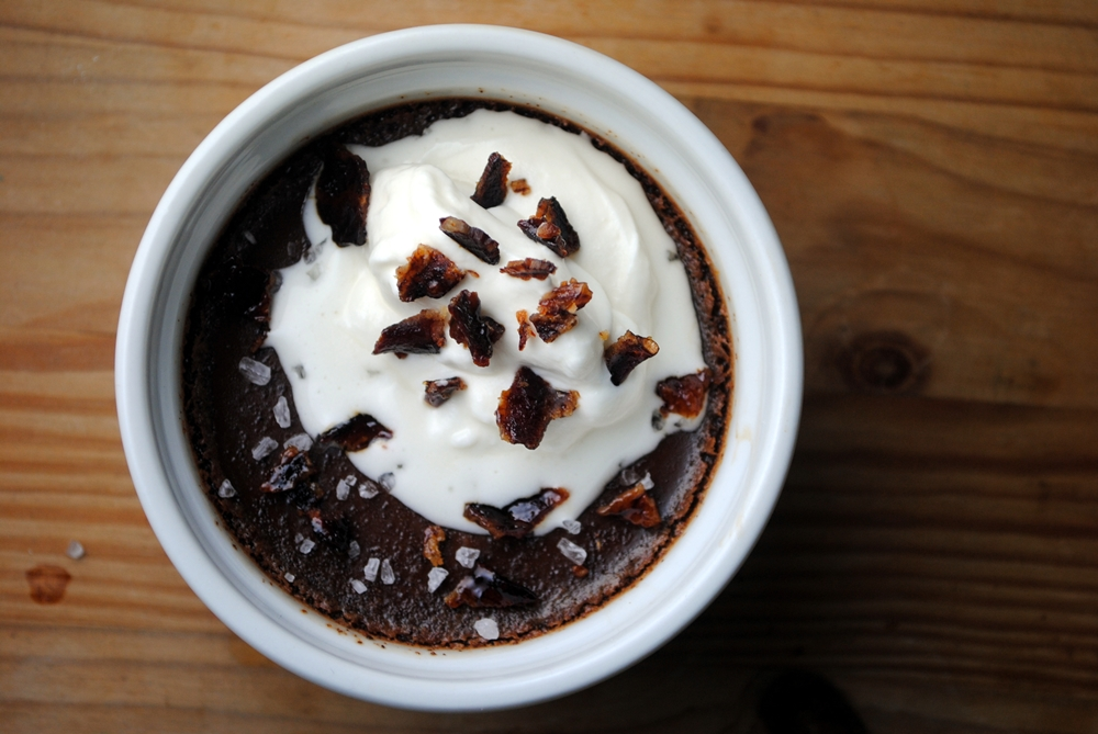 Spiced Chocolate Pots de Creme with Candied Bacon and Maple Cream on Food52