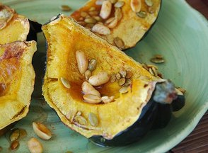 Roasted Acorn Squash with Honey-Lime Glazed Pepitas