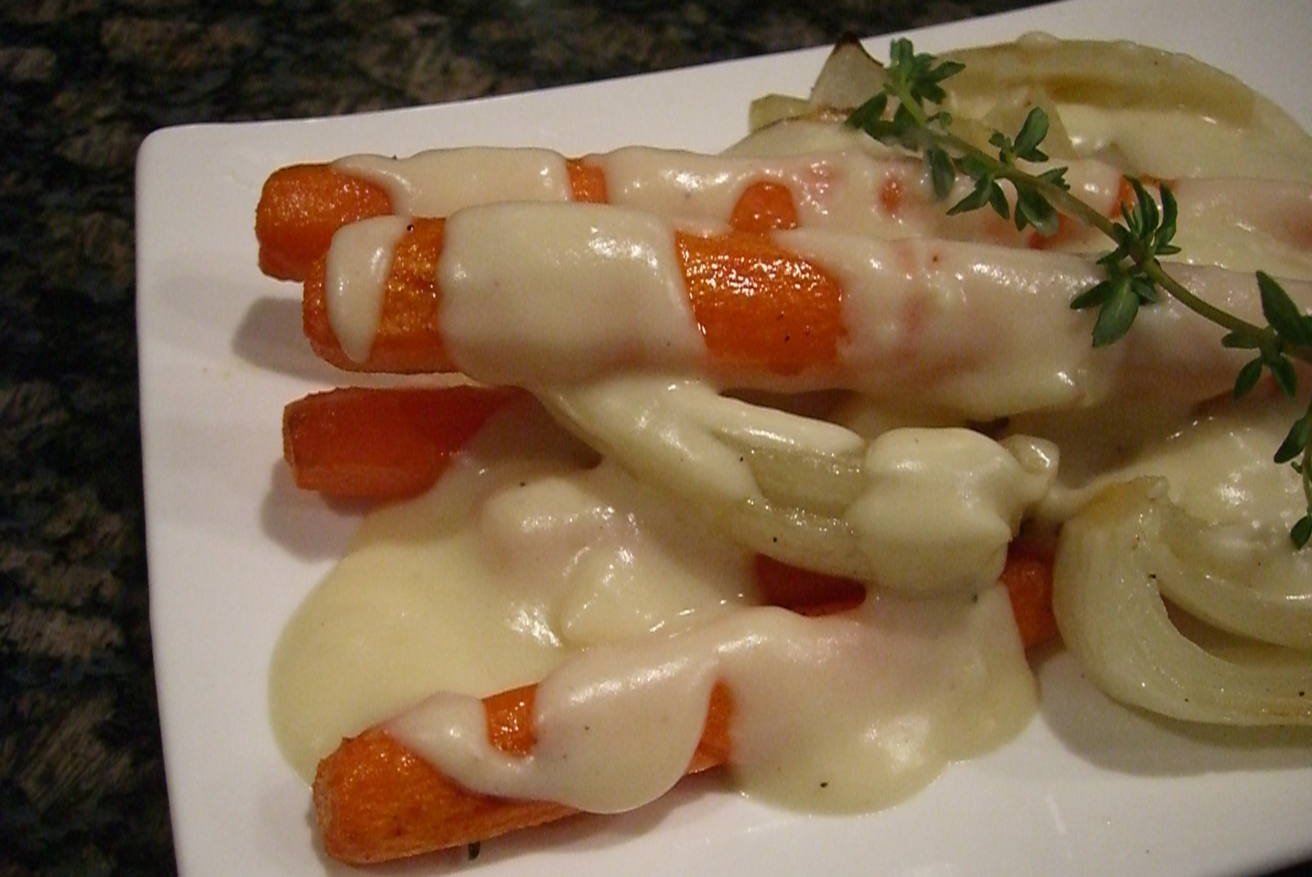 Roasted Carrots Cloaked in Fontina Sauce