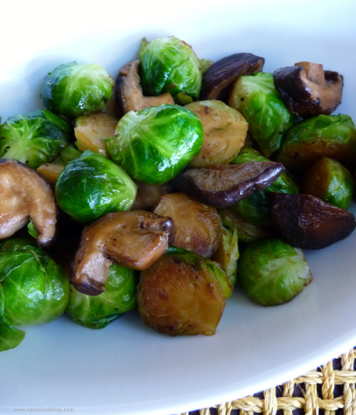 Sauted Brussel Sprouts and Shitake Mushrooms with Truffle Oil