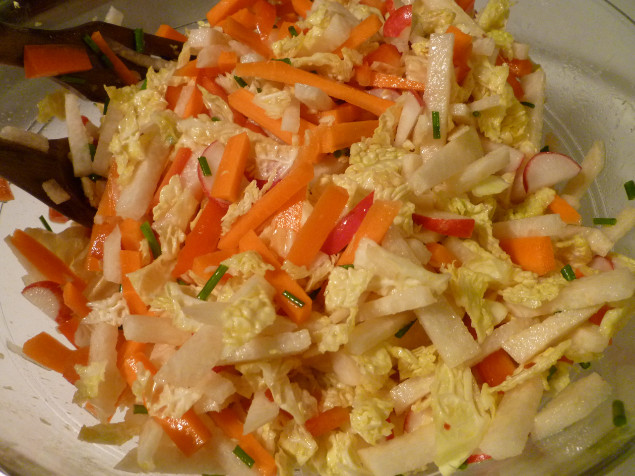Crunchy carrot, jicama, and radish slaw