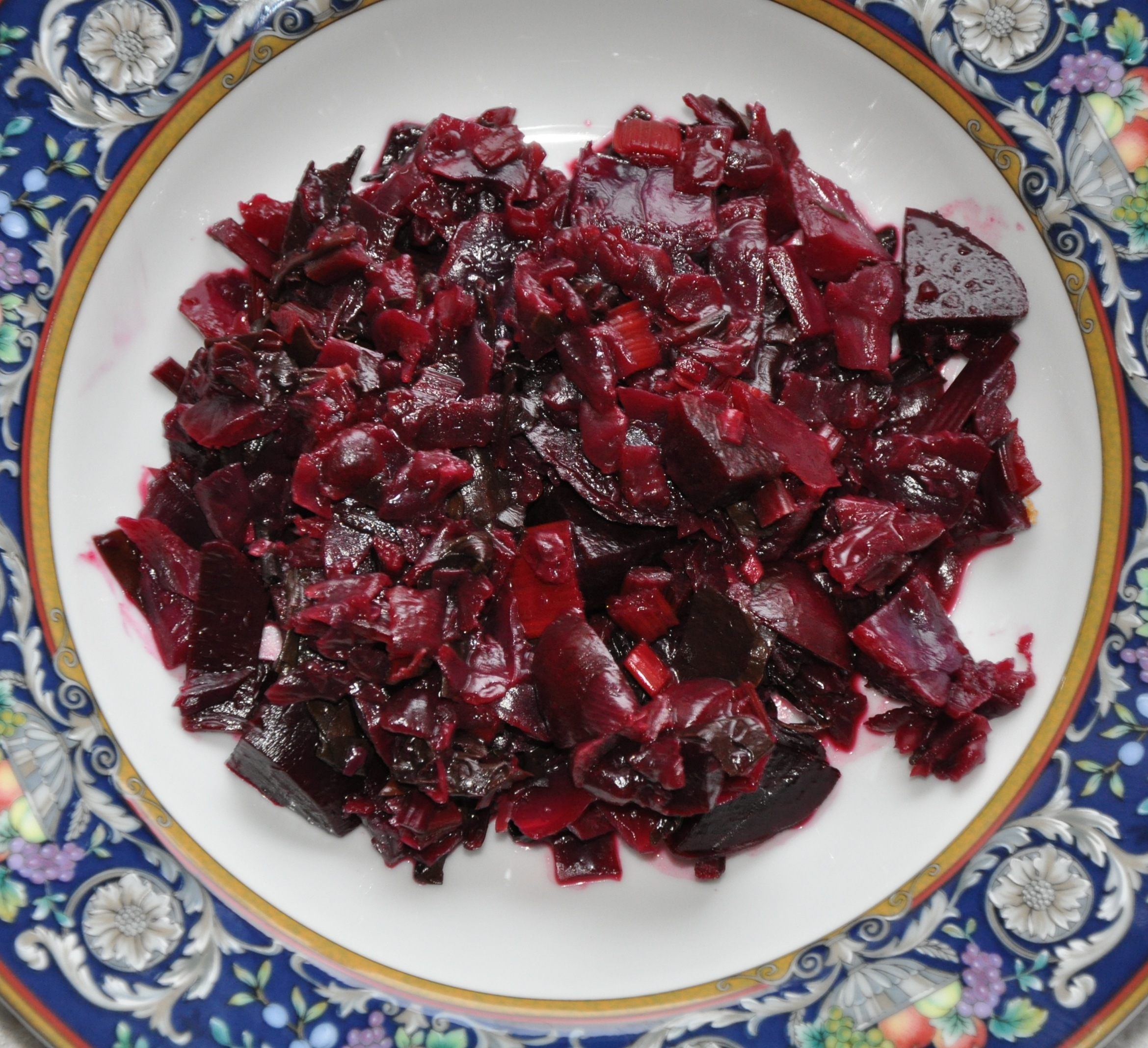 Bright Winter Side (Sauteed Beet Greens, Red Chard and Red Cabbage with Roasted Beets)