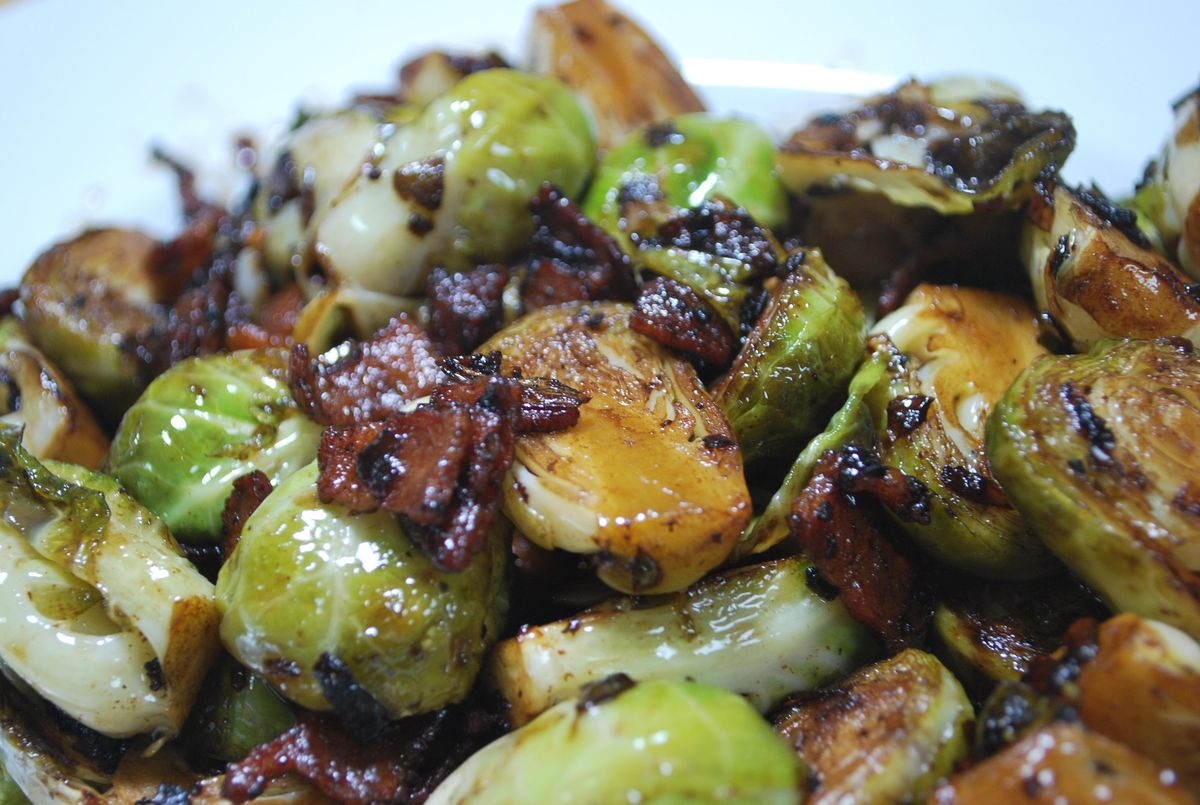 Pan Roasted Brussel Sprouts with Bacon &amp; Shallot