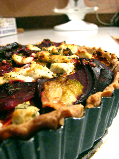 Savory Beet and Brussels Sprout Tart