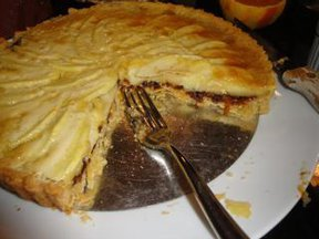 Orange Scented Almond Tart with Apples and Prune Jam