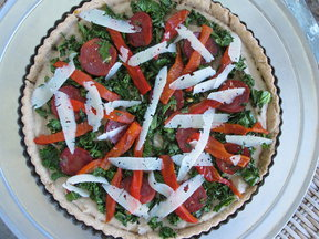 White Bean, Chorizo and Kale Tart with Manchego Cheese