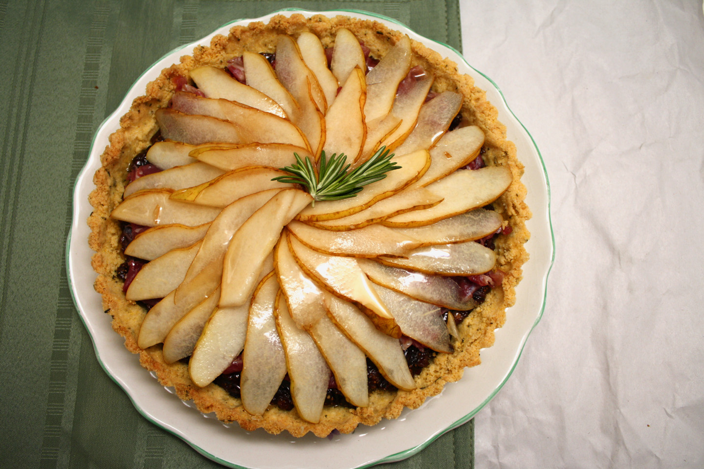 Fresh Pear, Fig, and Prosciutto Tart with Rosemary Cornmeal Crust
