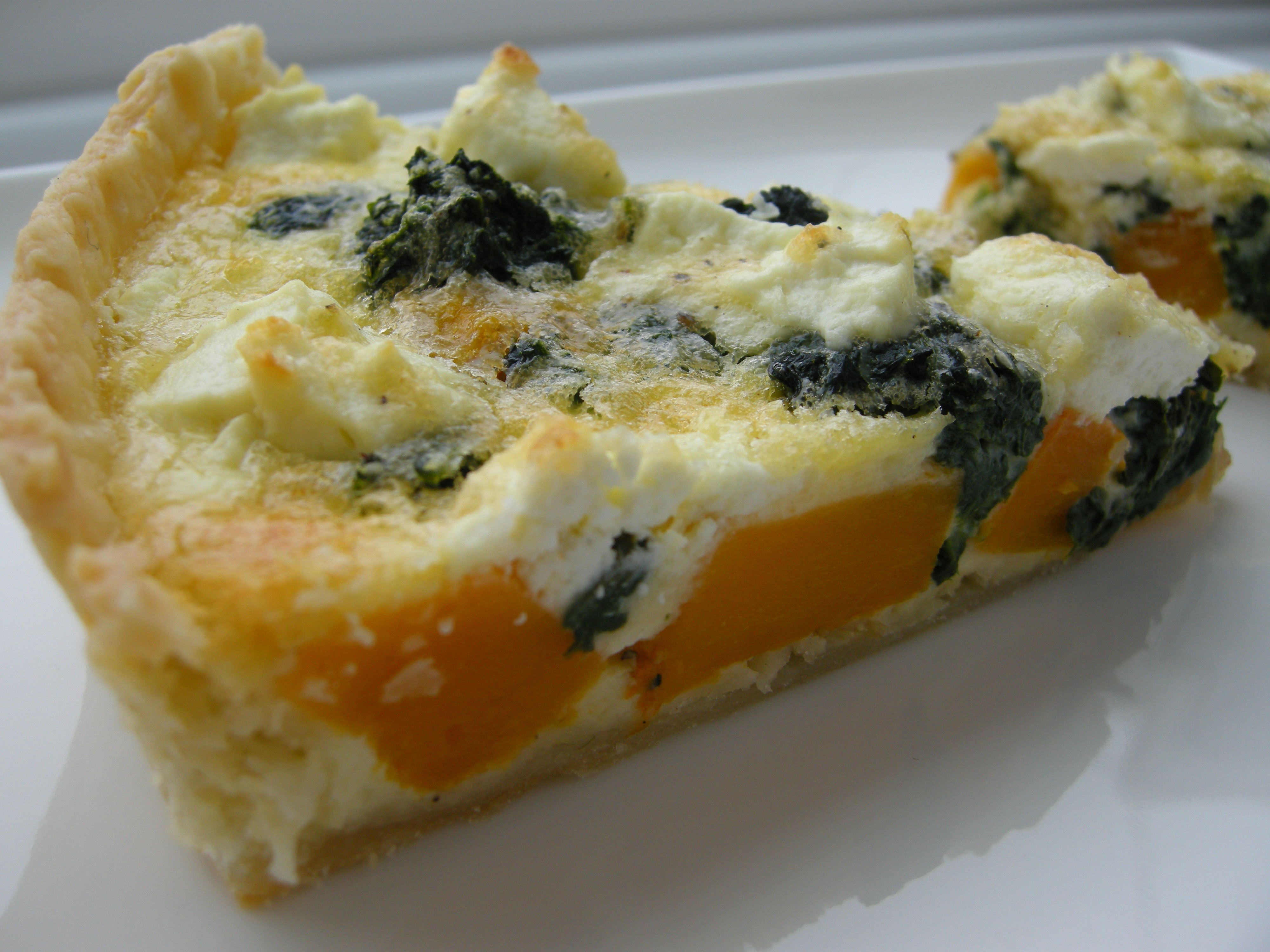Butternut squash, spinach and goat cheese tart