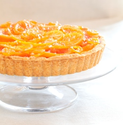 Candied Winter Citrus Tart with Vanilla Custard, Dark Chocolate, &amp; Flaked Salt in a Whole Wheat Almond Shortbread Crust