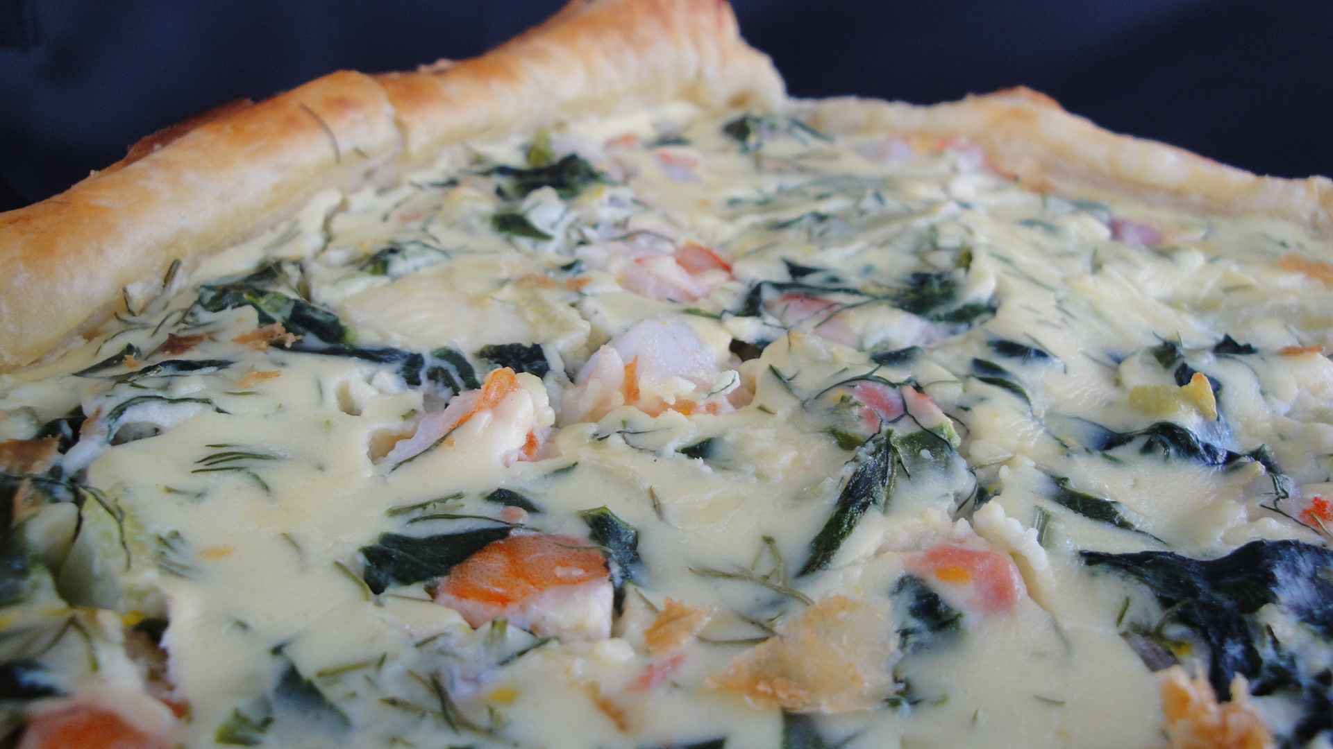 Fontina, Roasted Fennel & Spinach Seafood Tart