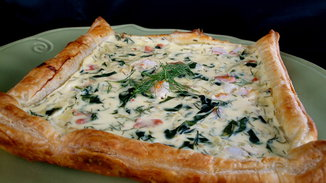 Fontina, Roasted Fennel &amp; Spinach Seafood Tart