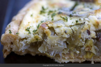 Potato Leek Tart with Goat Cheese and Parsley Pure
