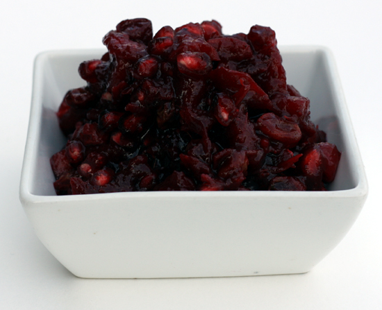 Cranberry Pomegranate Compote with Fuji Apples, Raisins and Crystallized Ginger