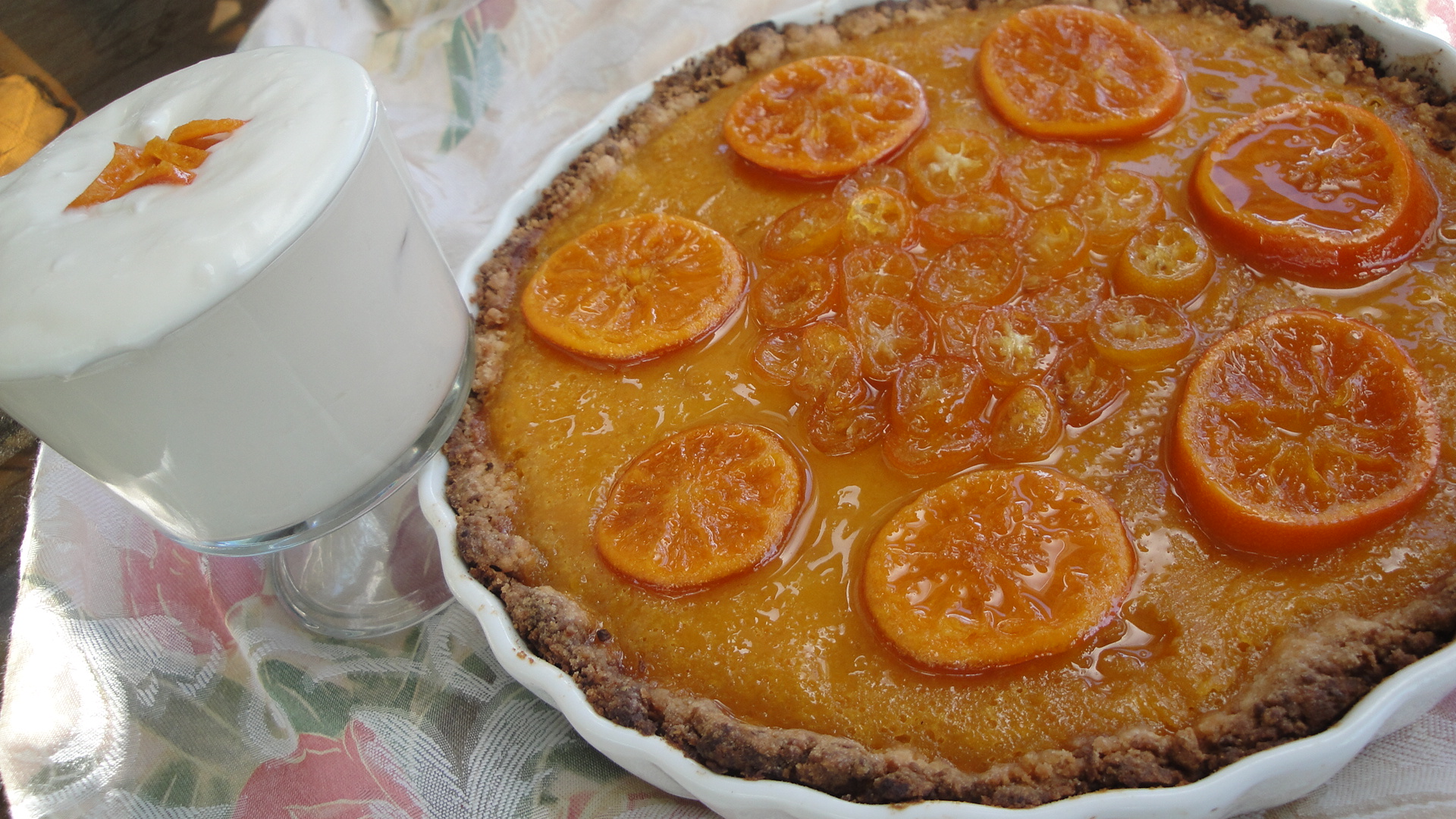 Extreme Mandarin Tart with Kumquat Glaze and Limoncello Syllabub