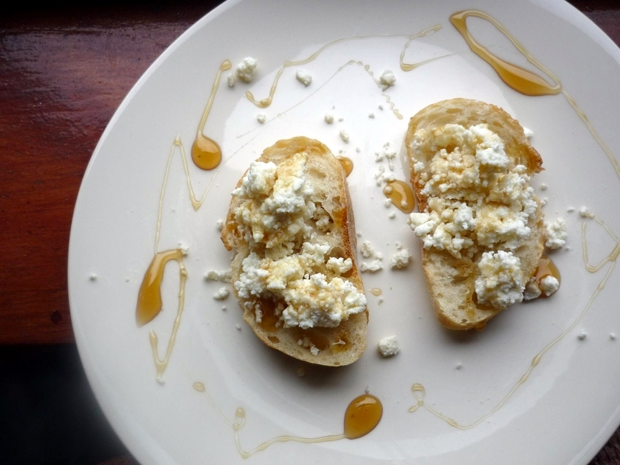 Crostini with Homemade Ricotta and Honey