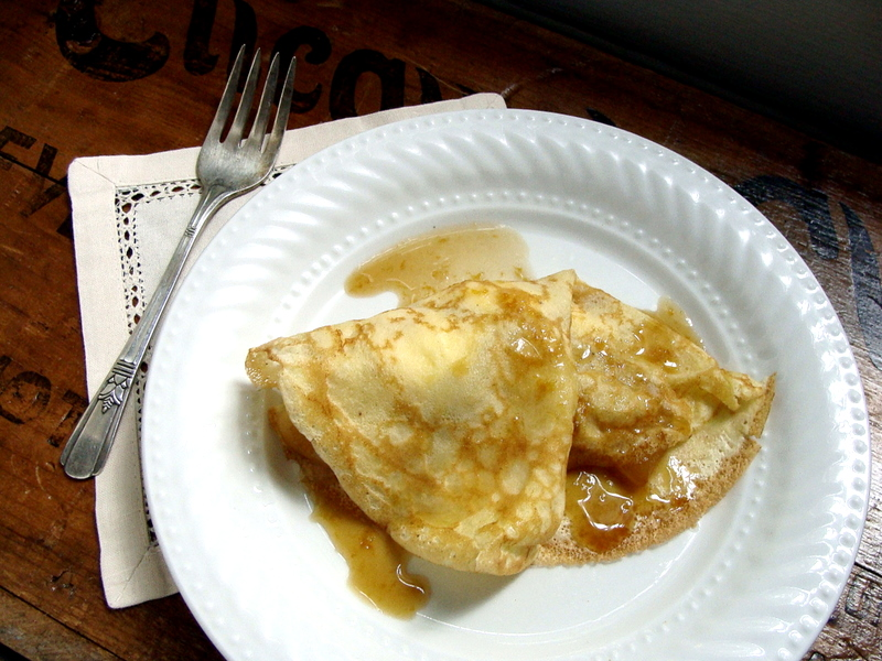 Brown Butter Apple &amp; Ricotta Crepes with Caramel Sauce