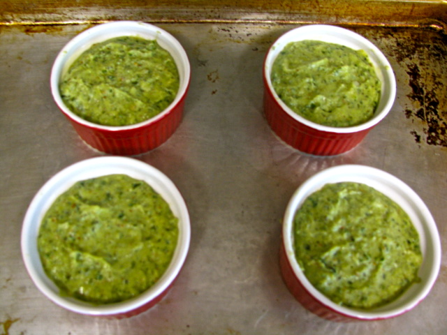 Ricotta Souffles with Basil-Arugula Pesto