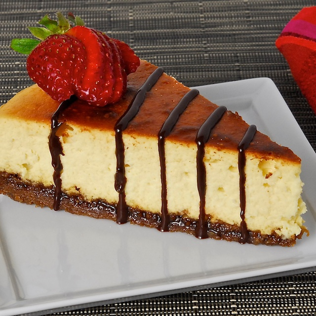 Lemon-Thyme Ricotta Cheesecake with Lavender Chocolate Drizzle