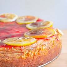 Grandma's Ricotta Cheesecake, Topped with Raspberry Glaze and Candied Lemon