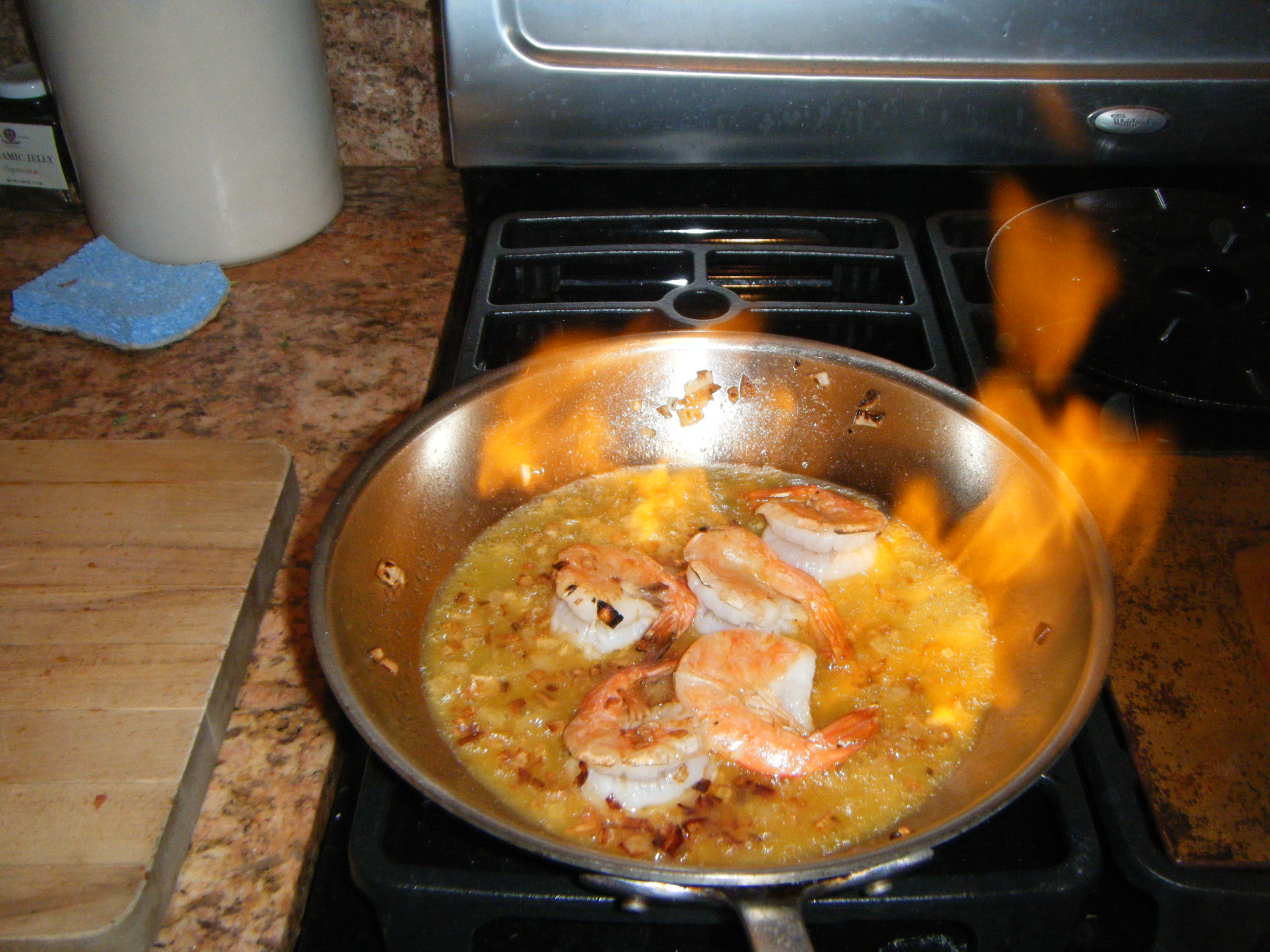 Culottes on Fire:  Shrimp with Capellini