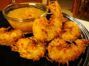 Coconut Fried Shrimp w/ Horseradish-Marmalade Sauce