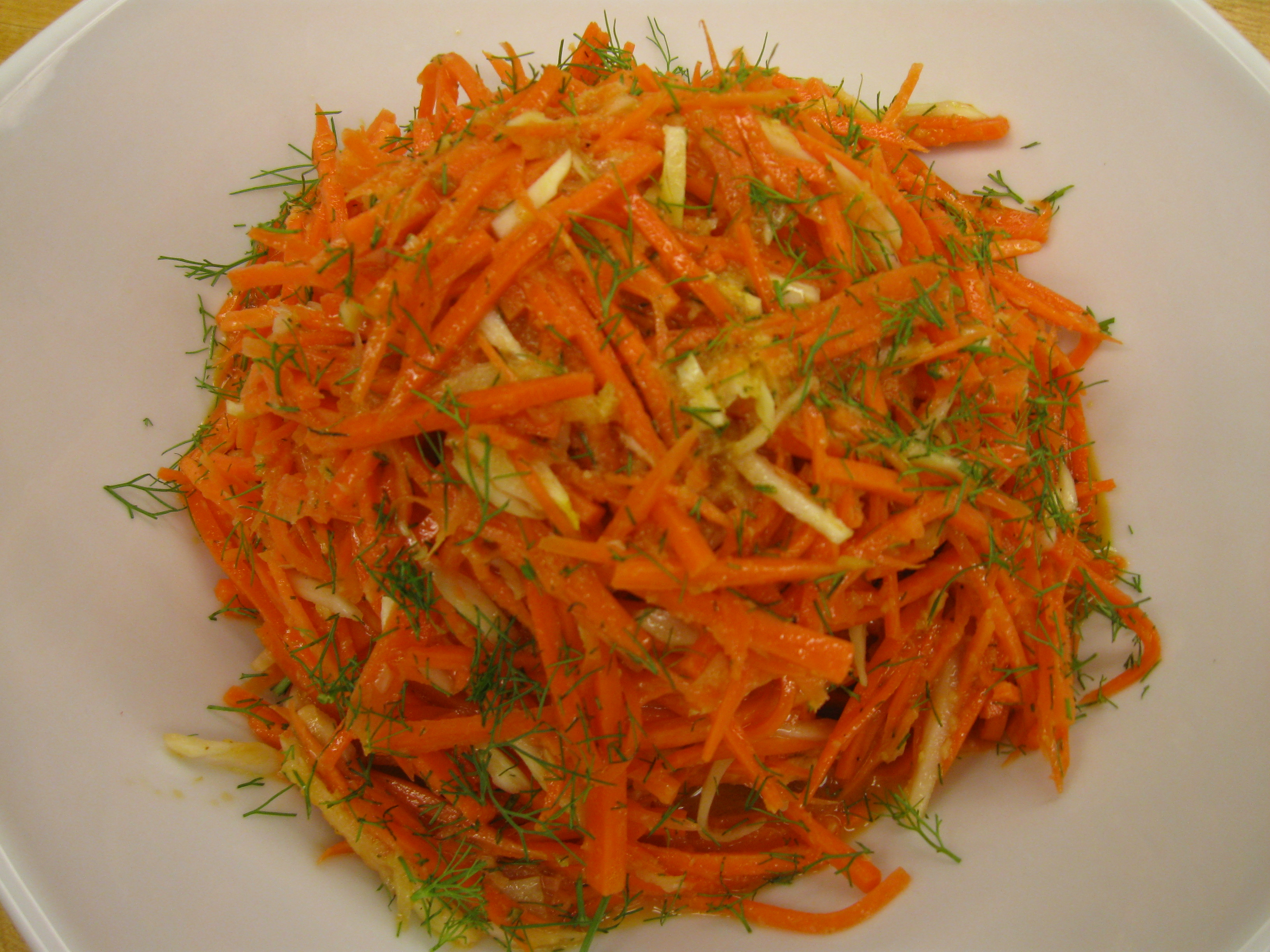 Carrot-Fennel Salad with Ginger-Horseradish Dressing