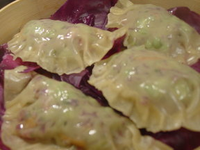 Confetti (red cabbage, scallion, carrot, and edamame) Steamed Dumplings