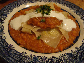 Leek Dumplings with Split Yellow Peas and Carrot Sauce
