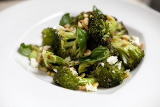 Roasted Broccoli with Toasted Pine Nuts, Feta, Basil & Lemon