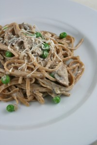 Creamy Mushroom Fettucine Alfredo with Peas