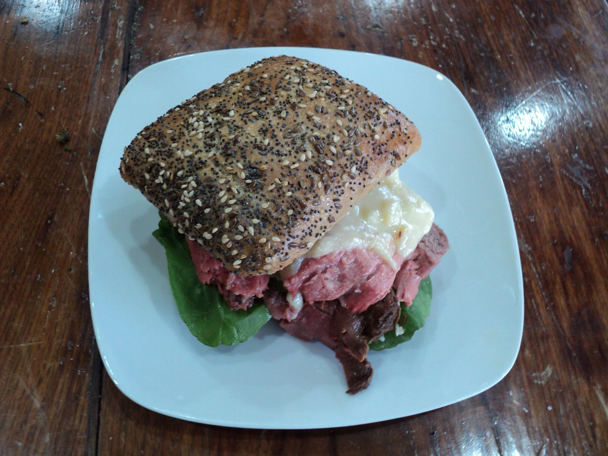 Rare Roast Beef Sandwich with Horseradish Fontina Fondue
