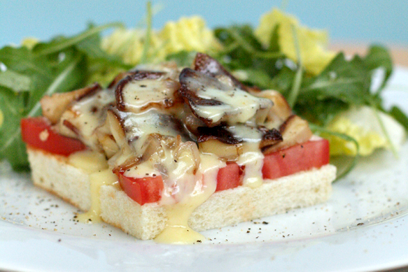 Shiitake Mushroom Tartines with Cheddar Fondue
