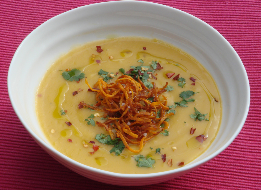 Sweet Potato, Orange and Ginger Cream Soup with Crispy Sweet Potatoes and Chilli Flakes