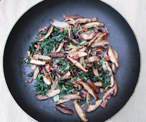 Mushroom Saute with Greens, Pancetta, and Wild Mushroom-infused Olive Oil