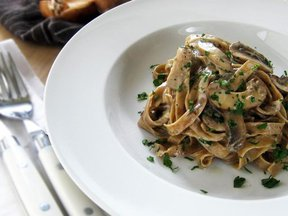 Homemade Porcini Fettuccini with Creamy Wild Mushroom Sauce