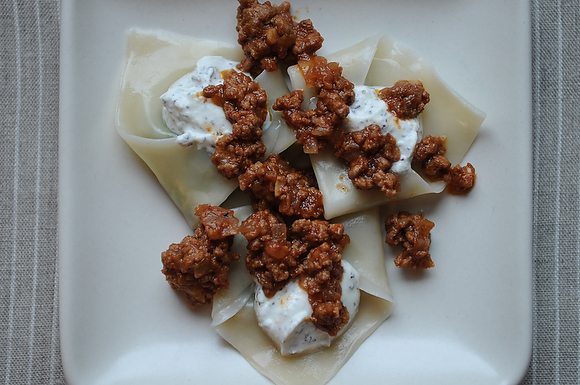 Afghan Dumplings with Lamb Kofta and Yogurt Sauce, from Food52