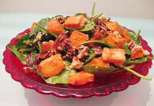 Baked sweet poato and pecan salad