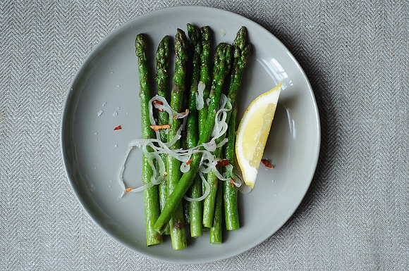 Asparagus with Shallots, Chiles and Lemon