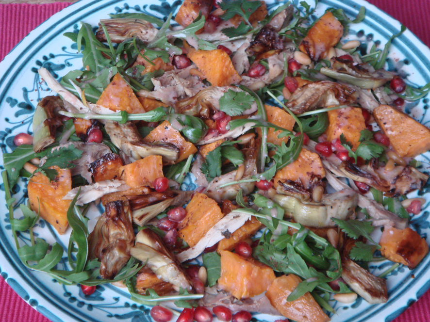 Autumn Salad with Artichokes, Sweet Potato, Arugula and Pomegranate