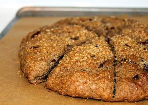 Espresso-chocolate buckwheat scones with lemon butter